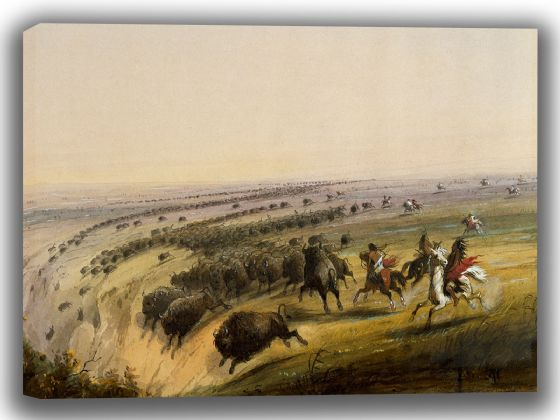 Miller, Alfred Jacob: Hunting Buffalo. Fine Art Canvas. Sizes: A4/A3/A2/A1 (003829)